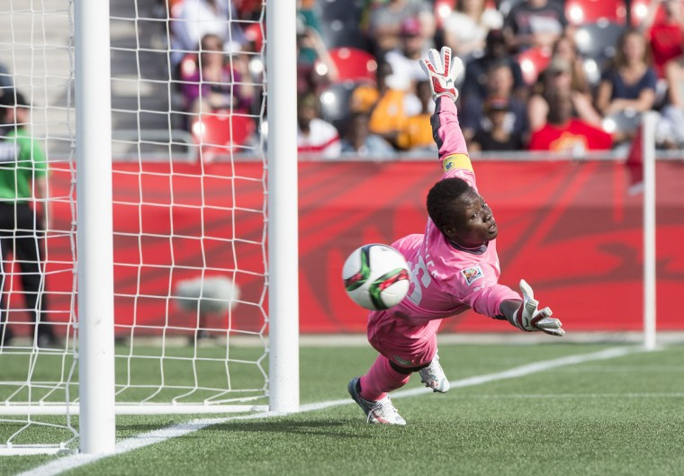 Ivory Coast goalkeeper Dominique Thiamale fails to stop Germany's Alexandra Popp's free-kick during their 10-0 demolition of the African first-timers in a Group B match at the 2015 FIFA Women's World Cup at Landsdowne Stadium in Ottawa on June 7, 2015. (NICHOLAS KAMM/AFP/Getty Images)