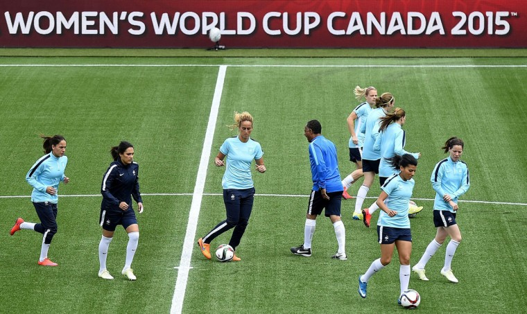French players participate in a training session at the Moncton Stadium on June 8, 2015 on the eve of France's 2015 FIFA Women's World Cup group F football match against England. (FRANCK FIFE/AFP/Getty Images)