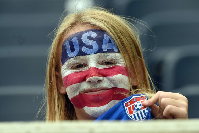 A fan with her face painted wait to watch the Group D match of the 2015 FIFA Women's World Cup between the US and Australia at the Winnipeg Stadium on June 8, 2015, in Winnipeg, Manitoba. (JEWEL SAMAD/AFP/Getty Images)