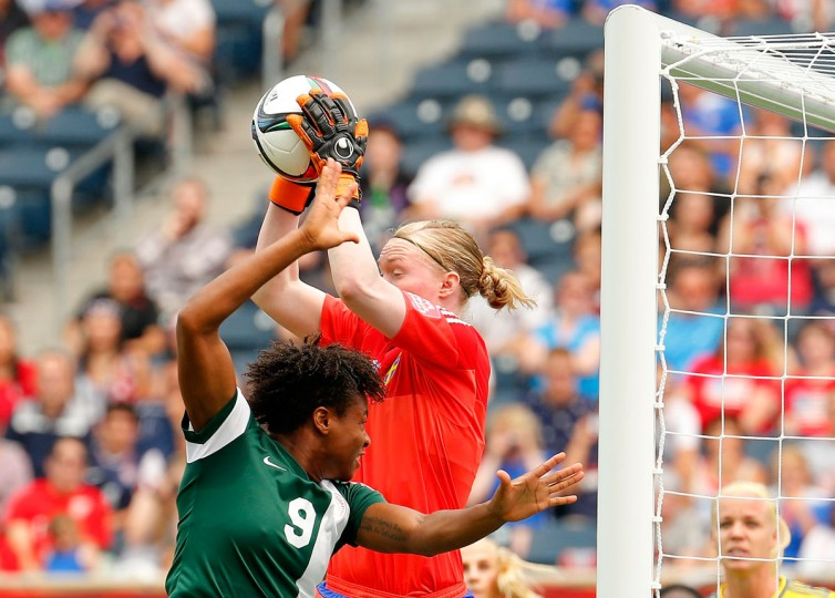 Goalkeeper Hedvig Lindahl of Sweden saves a shot on goal behind Desire Oparanozie of Nigeria during a FIFA Women's World Cup Canada 2015 Group D match at Winnipeg Stadium on June 8, 2015 in Winnipeg, Canada. (Photo by Kevin C. Cox/Getty Images)