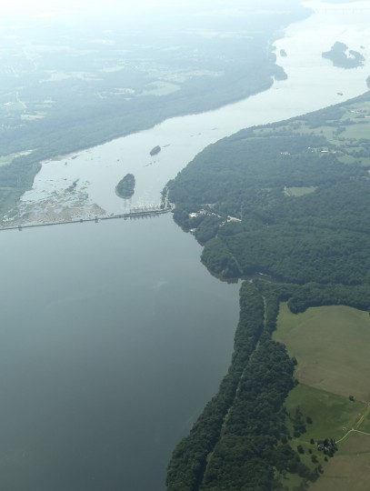 A section of the Susquehanna River can be seen here in northern Harford County as Derward Brooks and Larry Esser fly a single-engine Cessna from Baltimore to Philadelphia on an Angel Flight East mission on Wednesday, June 10, 2015. (Jon Sham/Baltimore Sun)