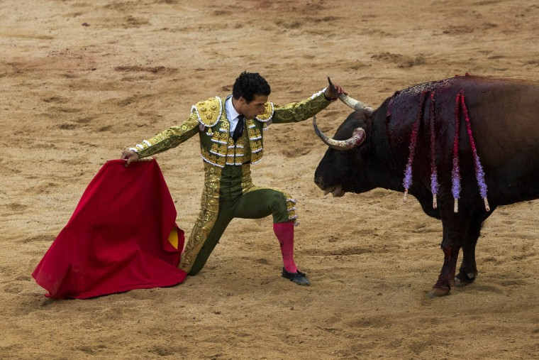 Morenito de Aranda touches a bull horn as he performs during a bullfight at the San Fermin festival in Pamplona, Spain, Wednesday, July 8, 2015. (Andres Kudacki/AP photo)