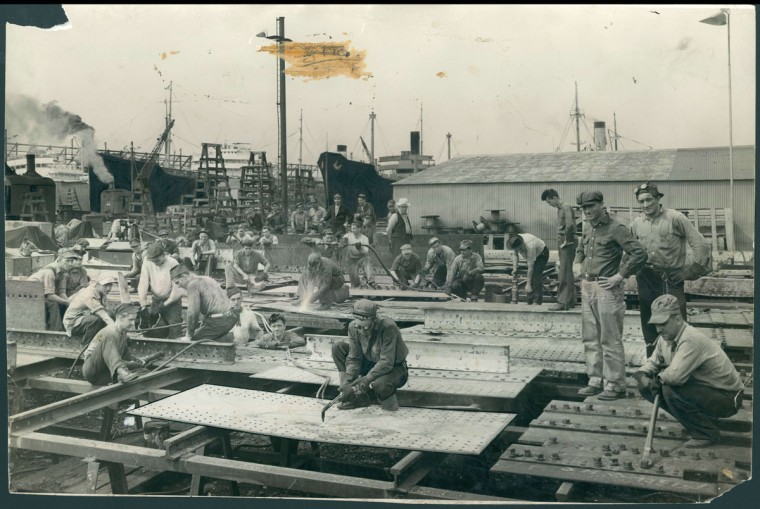 A look into Bethlehem Steel's Locust Point ship building plant on June 16, 1941. (Baltimore Sun photo by A. Aubrey Bodine)