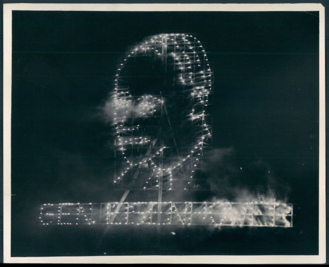 """Firework display of """"General Eisenhower"""" during an Independence Day celebration in 1943. (Baltimore Sun archives)"""