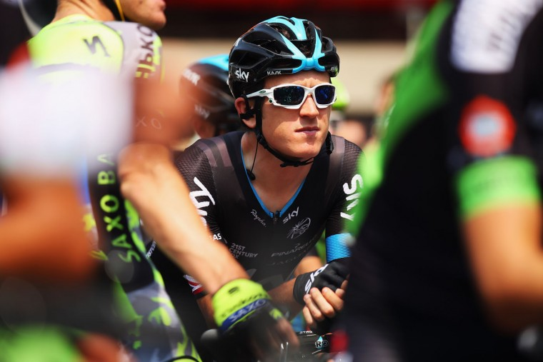 Geraint Thomas of Great Britain and Team SKY looks on at the start of stage two of the 2015 Tour de France, a 166km stage between Utrecht and Zelande, on July 5, 2015 in Utrecht, Netherlands. (Bryn Lennon/Getty Images)