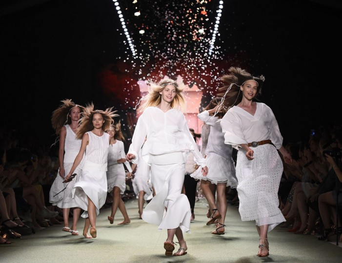 Models present creations by Marc Cain during the Berlin Fashion Week SpringSummer 2016 in Berlin on July 7, 2015. (TOBIAS SCHWARZ/AFP/Getty Images)