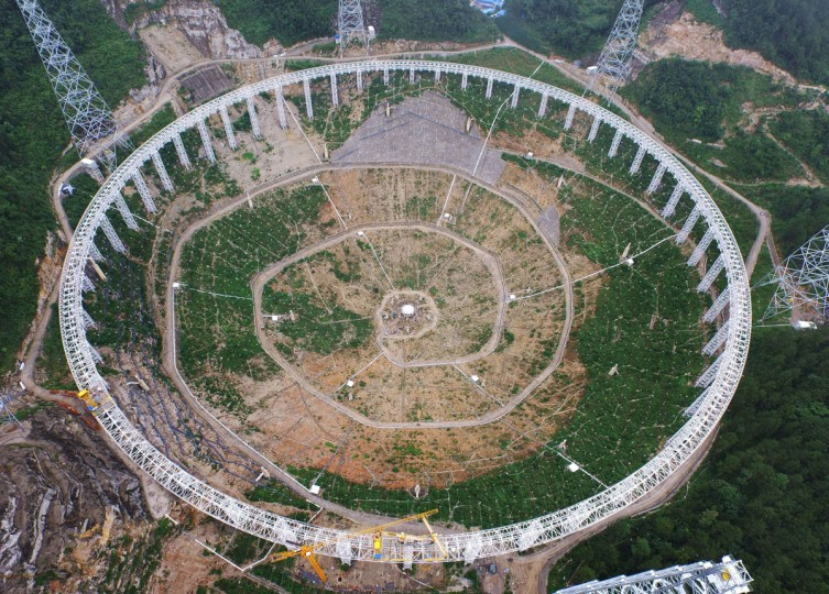This picture taken on July 29, 2015 shows the five-hundred-metre Aperture Spherical Radio Telescope (FAST) under construction in Pingtang, southwest China's Guizhou province. (CHINA OUT AFP PHOTOSTR/AFP/Getty Images)