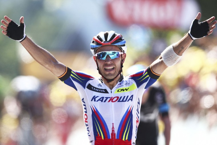 Spain's Joaquim Rodriguez celebrates winning the third stage of the Tour de France cycling race over 159.5 kilometers (99.1 miles) with start in Antwerp and finish in Huy, Belgium, Monday, July 6, 2015. (AP Photo/Peter Dejong)