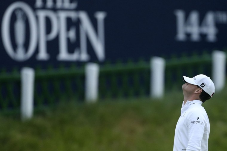 United States' Zach Johnson reacts after winning a playoff after the final round at the British Open Golf Championship at the Old Course, St. Andrews, Scotland, Monday, July 20, 2015. (AP Photo/Peter Morrison)