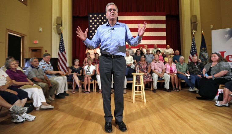 Republican presidential candidate former Florida Gov. Jeb Bush addresses guests during a town hall style gathering in Gorham, N.H., Thursday, July 23, 2015. (AP Photo/Charles Krupa)