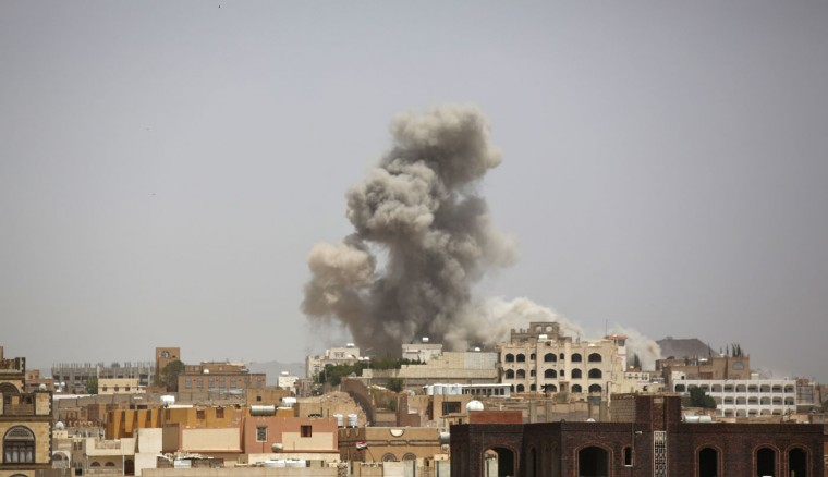 Smoke rises after a Saudi-led airstrike in Sanaa, Yemen, Thursday, July 2, 2015. The United Nations on Wednesday declared its highest-level humanitarian emergency in conflict-torn Yemen, where over 80 percent of the population needs assistance. U.N. officials have said the Arab world's most impoverished country is now a step away from famine. (AP Photo/Hani Mohammed)