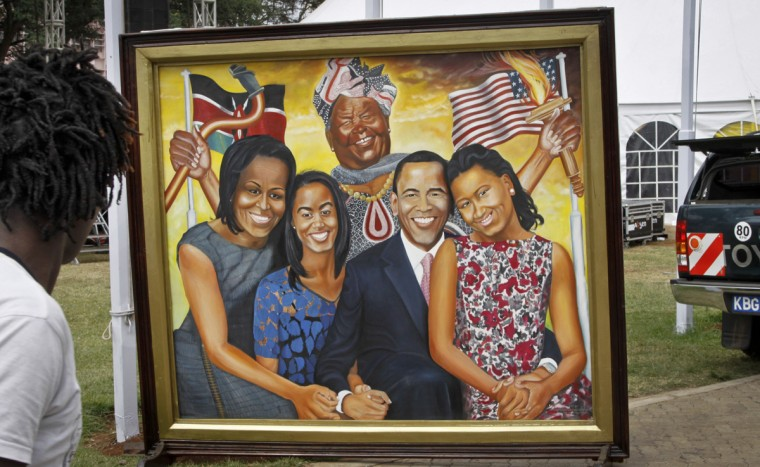 A painting depicting the Obama family and step-grandmother Sarah Obama above, stands outside an exhibition about the Global Entrepreneurship Summit which President Barack Obama will attend later in the week, in Nairobi, Kenya Wednesday, July 22, 2015. In his first trip to Kenya since he was a U.S. senator in 2006, Obama is scheduled to arrive in Kenya on Friday, the first stop on his two-nation African tour in which he will also visit Ethiopia. (AP Photo/Khalil Senosi)
