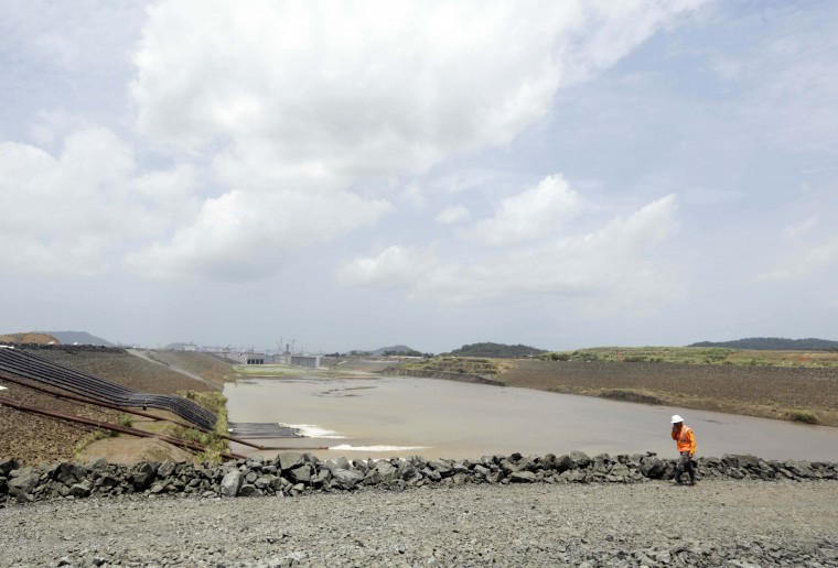 Fresh water is pumped into the new locks on the Pacific side of the Panama Canal expansion project in Cocoli, near Panama City, Monday, June 22, 2015. Water from an artificial lake has begun flooding into the new section of the Panama Canal and will spend the next several months filling the new locks on the Atlantic and the Pacific side of the project, as engineers begin testing the locks. (AP Photo/Arnulfo Franco)