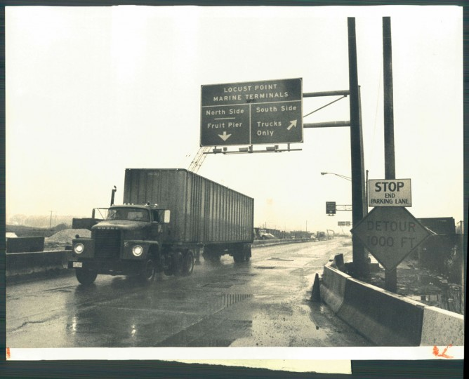 A truck leaves Locust Point on Feb. 3, 1983. (Baltimore Sun photo by Irving H. Phillips Jr.)