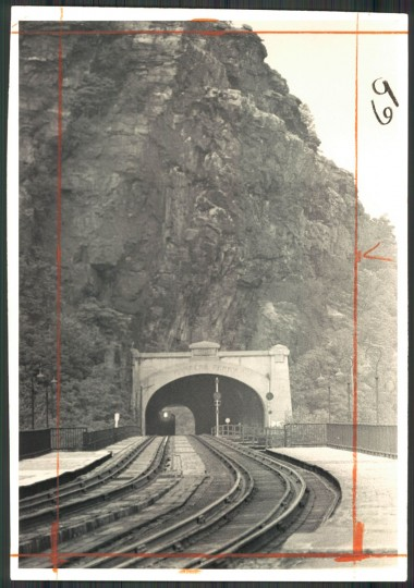The Washington to Cumberland passenger run, coming through the tunnel in Harpers Ferry. (Irving Phillips/Baltimore Sun, 1973)