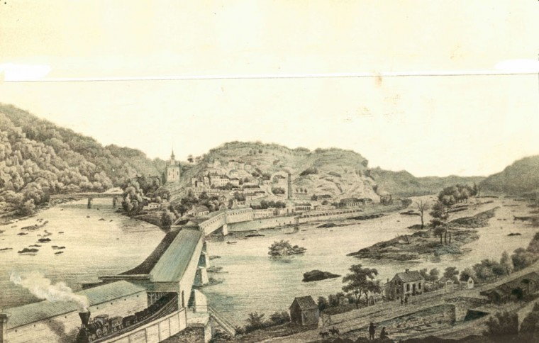 Lithograph of Harpers Ferry before the war. (Baltimore Sun archives, 1931)