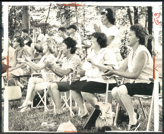 Virginia Littriello, Lois King, Mary Gibson, Shirley Arnold, Elsie Sunday and other mothers cheer on the Sudbrook Little Leaguers. (William L. La Force, Jr./Baltimore Sun, 1965)