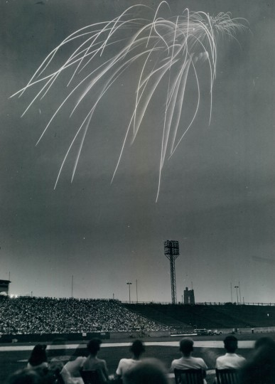 Fireworks at Memorial Stadium, July 1948. (Albert D Cochran/Baltimore Sun)