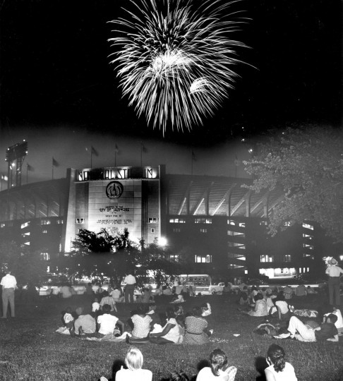 July 4, 1957 -- A crowd watches Memorial Stadium fireworks from Eastern High School lawn. (Wm. Klender/Baltimore Sun)