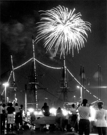 July 4, 1983 -- A crowd watches fireworks near the USS Constellation. (George H. Cook/Baltimore Sun)