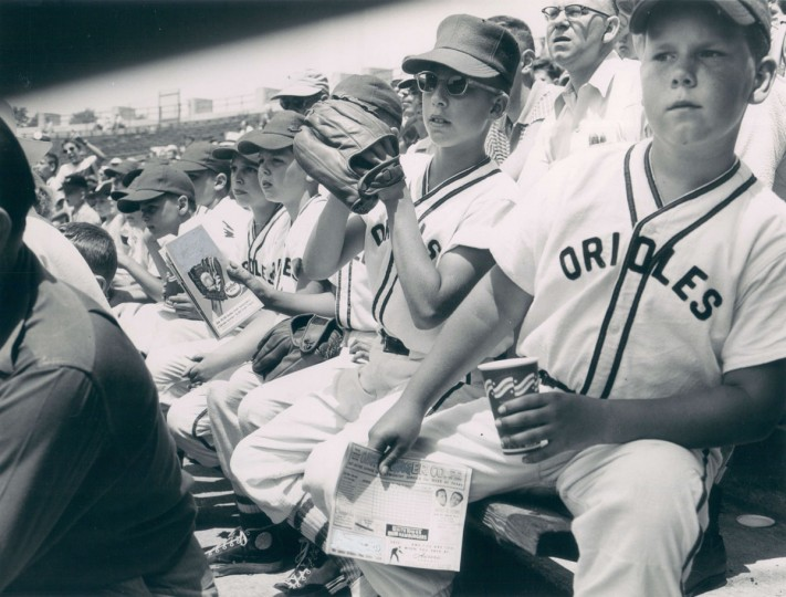 The members of Little League ball teams frequently are invited guests at the Stadium. On this particular afternoon the Orioles were watching the Orioles. (Baltimore Sun/William L. Klender, August 15, 1954)