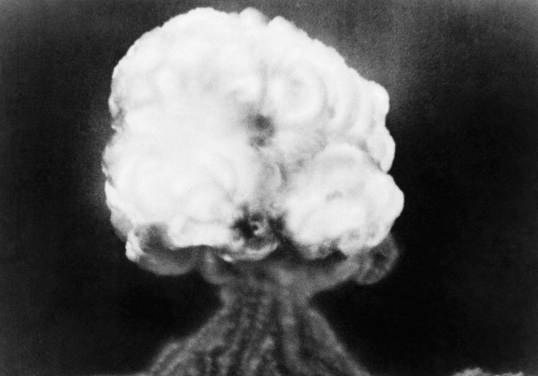 July 16, 1945: The Manhattan Project brought the first test of an atomic explosion on July 16, 1945 at Trinity Test Site in New Mexico. On Aug. 6 of that year, the U.S. dropped the first atomic bomb over Hiroshima, Japan. (AP Photo, File)