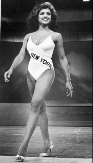 July 23, 1984: Vanessa Williams, seen her competing in the Miss America Pageant in 1983, becomes the first Miss America to resign her post after nude photos of her appeared in Penthouse magazine. (AP Photo/Jack Kanthal, file)