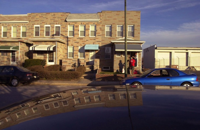 March 2000: With the influx of new high-tech businesses, real estate values of row homes such as these in Locust Point have been appreciating lately. (David Hobby, Baltimore Sun)