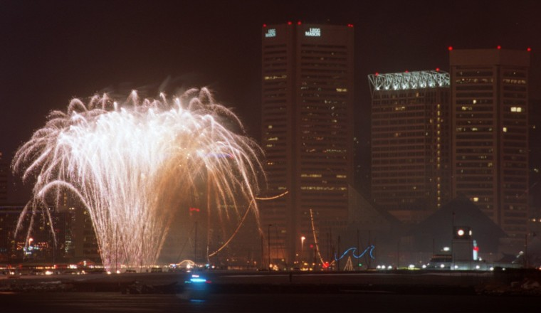 2001: Fireworks mark the beginning of the year 2001 at the Inner Harbor. This view is from Locust Point. (Steve Ruark, Baltimore Sun)