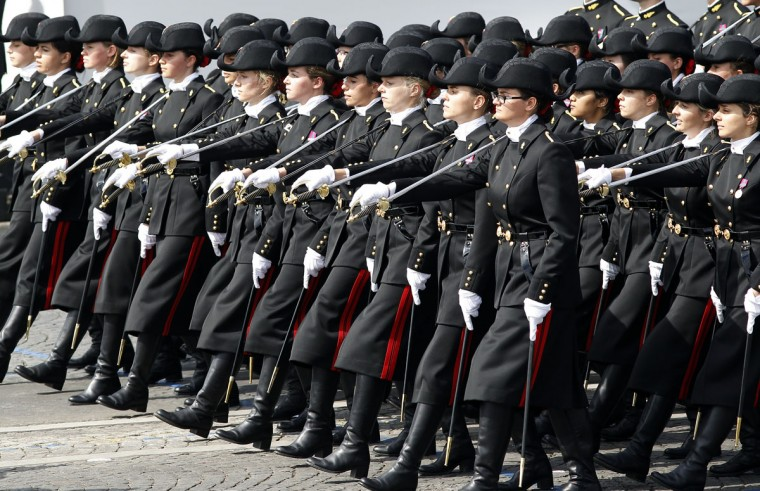 Students of the Ecole Polytechnique (Special military school of Polytechnic) parade during the annual Bastille Day military parade on July 14, 2015 in Paris, France.The Bastille Day, the French National Day, is held annually on 14 July to commemorate the storming of the Bastille fortress in 1789. (Photo by Thierry Chesnot/Getty Images)