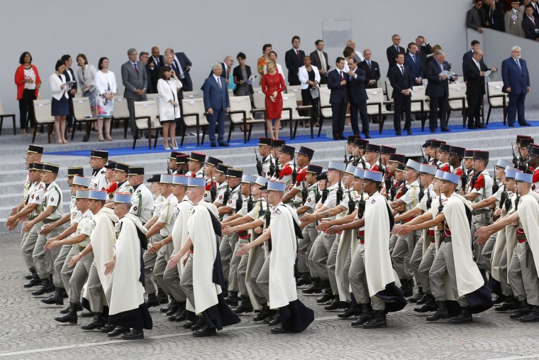 Soldiers of the French 1st Spahis Regiment parade during the annual Bastille Day military parade on July 14, 2015 in Paris, France.The Bastille Day, the French National Day, is held annually on 14 July to commemorate the storming of the Bastille fortress in 1789. (Photo by Thierry Chesnot/Getty Images)
