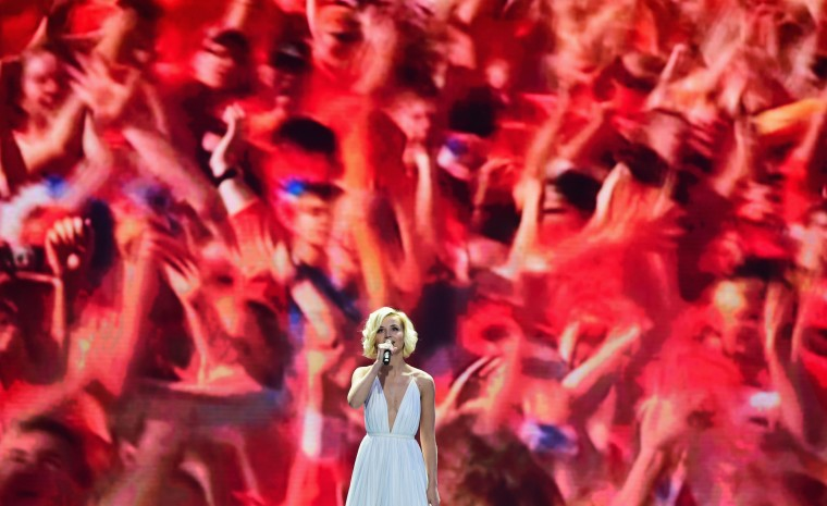 Singer Polina Gagarina performs at the Preliminary Draw of the 2018 FIFA World Cup in Russia at The Konstantin Palace on July 25, 2015 in Saint Petersburg, Russia. (Shaun Botterill/Getty Images)