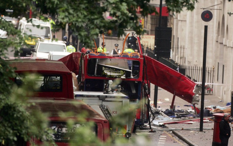 A double-decker bus is torn open from an explosion at Tavistock Place in London, one of several explosions that tore through the London subway during the morning rush hour, Thursday, July 7, 2005 in London, England. (KRT PHOTOGRAPH BY HUMPHREY NEMAR/EXPRESS SYNDICATION)