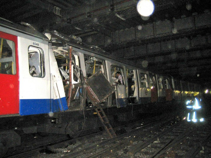 A damaged train in the London subway, between Liverpool Street and Aldgate subway stations, Thursday, July 7, 2005. Four explosions tore through the London subway and demolished a double-decker bus during the morning rush hour in London. (KRT PHOTOGRAPH BY MIKE PARTRIDGE/EXPRESS SYNDICATION)