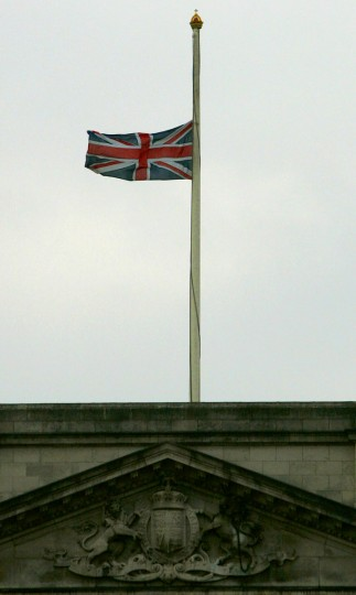 A Union flag flies at half-staff over Buckingham Palace after a series of terrorist blasts that took place in London, Thursday July 7, 2005. (AP Photo/Matt Dunham)