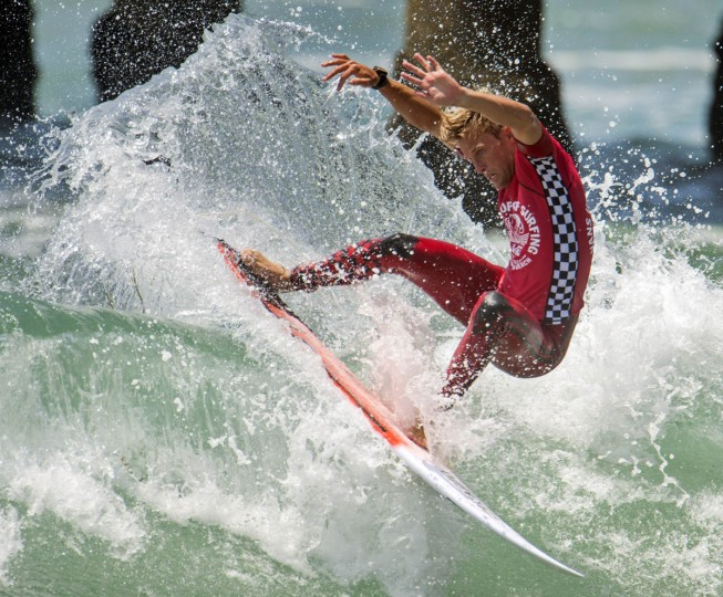 Patrick Gudauskas competes in the second round of the U.S. Open of Surfing, Wednesday, July 29, 2015,in Huntington Beach, Calif. (Kyusung Gong/AP photo)