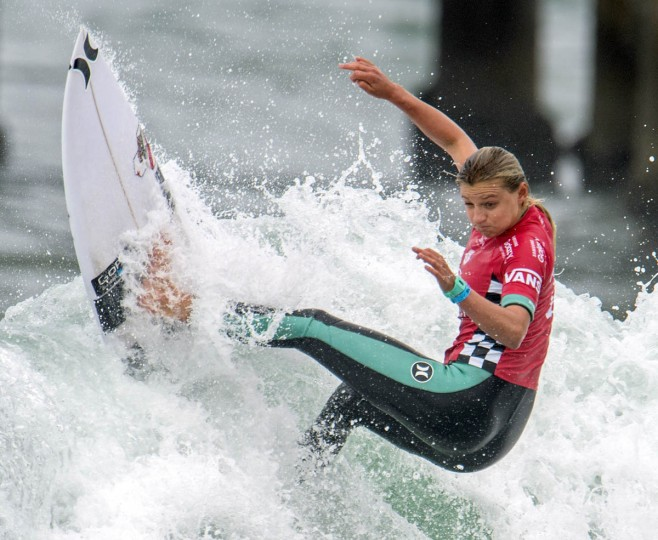 Lakey Peterson competes in the second round of the U.S. Open of Surfing, Wednesday, July 29, 2015, in Huntington Beach, Calif. (Kyusung Gong/AP photo)
