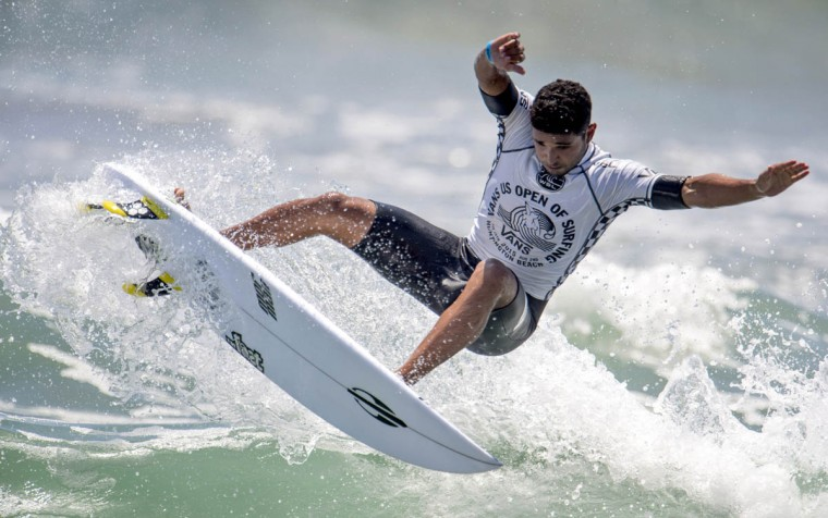 Michael Rodrigues, of Brazil, competes in the second round of the U.S. Open of Surfing, Wednesday, July 29, 2015, in Huntington Beach, Calif. (Kyusung Gong/AP photo)