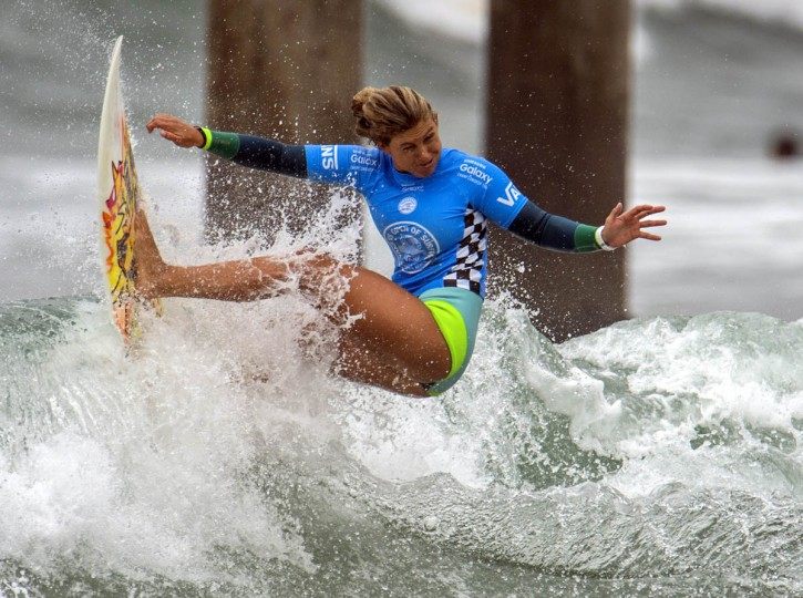 Sage Erickson competes in the second round of the U.S. Open of Surfing, Wednesday, July 29, 2015, in Huntington Beach, Calif. (Kyusung Gong/AP photo)