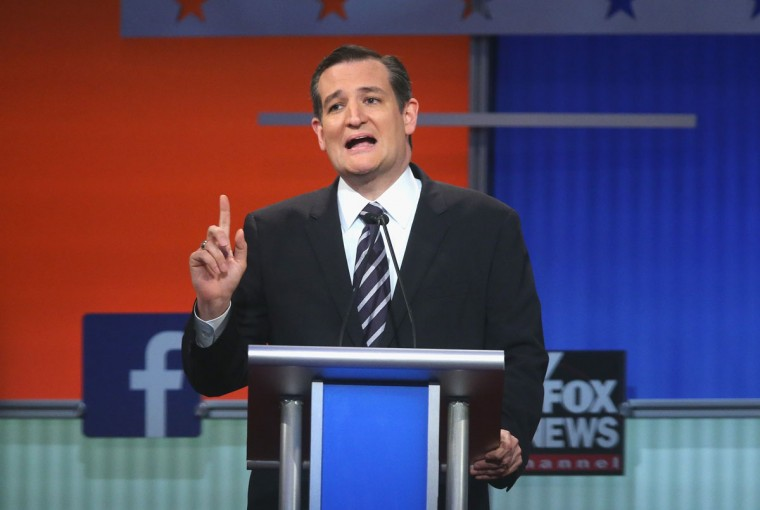 Republican presidential candidate Sen. Ted Cruz (R-TX) fields a question during the first Republican presidential debate hosted by Fox News and Facebook at the Quicken Loans Arena on August 6, 2015 in Cleveland, Ohio. The top ten GOP candidates were selected to participate in the debate based on their rank in an average of the five most recent political polls. (Photo by Scott Olson/Getty Images)