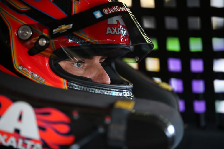 Jeff Gordon, driver of the #24 Axalta Chevrolet, sits in his car during practice for the NASCAR Sprint Cup Series Cheez-It 355 at Watkins Glen International on August 7, 2015 in Watkins Glen, New York. (Chris Graythen/Getty Images)