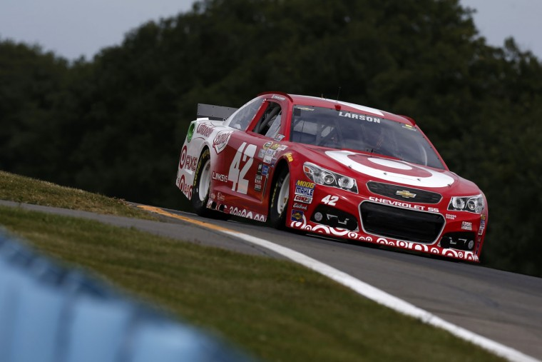 Kyle Larson, driver of the #42 Target Chevrolet, races during qualifying for the NASCAR Sprint Cup Series Cheez-It 355 at Watkins Glen International on August 8, 2015 in Watkins Glen, New York. (Jeff Zelevansky/Getty Images)