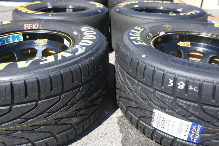 Rain tires are shown prior to the NASCAR Sprint Cup Series Cheez-It 355 at the Glen at Watkins Glen International on August 9, 2015 in Watkins Glen, New York. (Matt Sullivan/Getty Images)