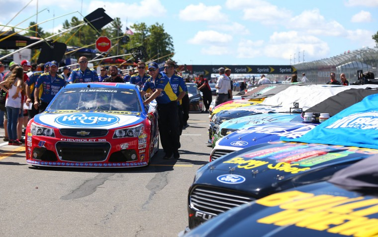Cars are parked on the grid during the NASCAR Sprint Cup Series Cheez-It 355 at the Glen at Watkins Glen International on August 9, 2015 in Watkins Glen, New York. (Matt Sullivan/Getty Images)