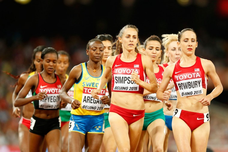 Jennifer Simpson of the United States (C) and Shannon Rowbury of the United States (R) compete in the Women's 1500 meter final during day four of the 15th IAAF World Athletics Championships Beijing 2015 at Beijing National Stadium on August 25, 2015 in Beijing, China. (Photo by Christian Petersen/Getty Images for IAAF)