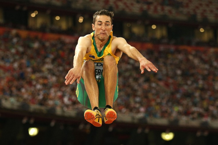 Fabrice Lapierre of Australia competes in the Men's Long Jump final during day four of the 15th IAAF World Athletics Championships Beijing 2015 at Beijing National Stadium on August 25, 2015 in Beijing, China. (Photo by Patrick Smith/Getty Images)