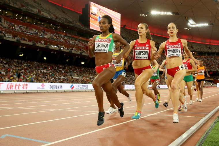 Genzebe Dibaba of Ethiopia (L) on her way to winning gold in the Women's 1500 metres final during day four of the 15th IAAF World Athletics Championships Beijing 2015 at Beijing National Stadium on August 25, 2015 in Beijing, China. (Photo by Patrick Smith/Getty Images)