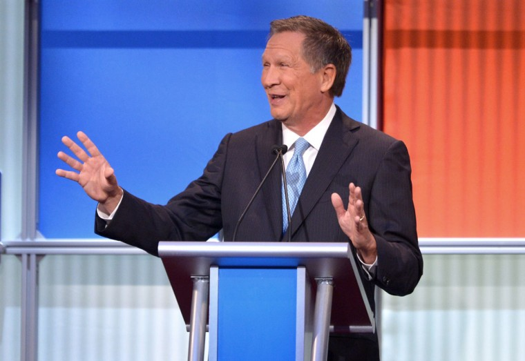 Republican presidential hopeful John Kasich speaks during the prime time Republican presidential primary debate on August 6, 2015 at the Quicken Loans Arena in Cleveland, Ohio. (AFP Photo/P /mandel )