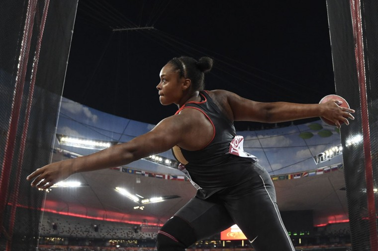 "Germany's Shanice Craft competes in the final of the women's discus throw athletics event at the 2015 IAAF World Championships at the ""Bird's Nest"" National Stadium in Beijing on August 25, 2015. (FRANCK FIFE/AFP/Getty Images)"