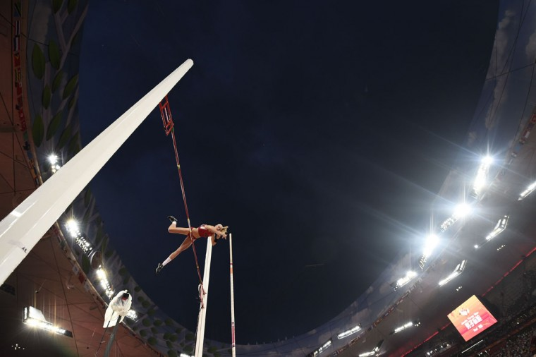 "USA's Sandi Morris competes in the final of the women's pole vault athletics event at the 2015 IAAF World Championships at the ""Bird's Nest"" National Stadium in Beijing on August 26, 2015. (AFP Photo/Franck Fife)"
